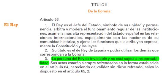 Inviolabilidad rey constitución